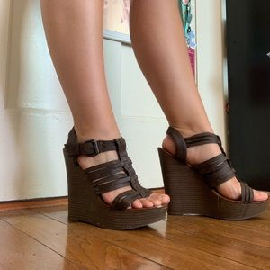 Brown Strappy Wedges Mix No. 6 | Size 8.5